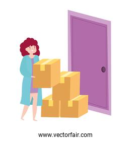 safe delivery at home during coronavirus  covid 19 , woman with cardboard boxes in door home