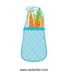eco friendly bag with bread and vegetables, isolated icon design white background
