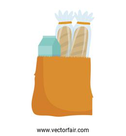 grocery food bread and juice box isolated icon design white background
