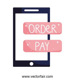 online grocery store, smartphone order pay button app, isolated icon design white background