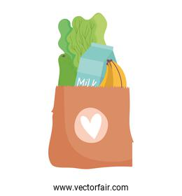 grocery bag with vegetables milk bottle and banana isolated icon design
