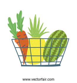 shopping basket with carrots pineapple and watermelon isolated icon design white background