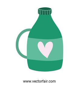 bottle with heart and cap isolated icon design white background
