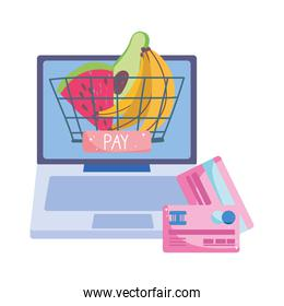 online market, computer bank cards basket, food delivery in grocery store