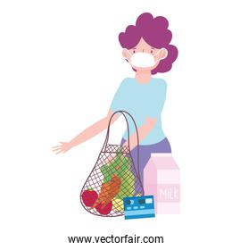customer with mask eco friendly bag credit card, food delivery in grocery store
