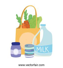 milk bag carrot lettuce, food delivery in grocery store