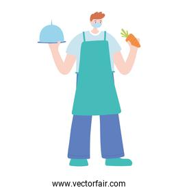 male chef with platter and carrot work essential during covid 19, character worker isolated design icon