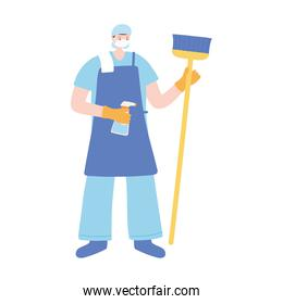 cleaning job person with spray and broom, work essential during covid 19, character worker isolated design icon