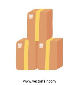 delivery cardboard boxes stacked logistic isolated design icon