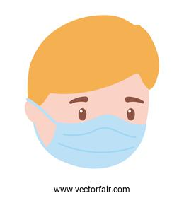 boy with protective mask, prevention covid 19 coronavirus isolated icon design white background