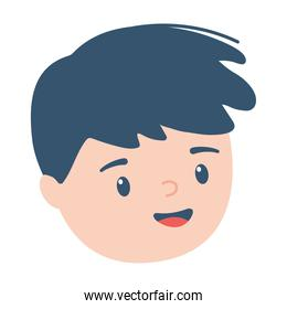 boy face cartoon character isolated icon design white background