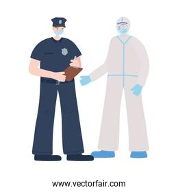 isolated policeman and doctor wearing face masks, coronavirus covid 19 disease