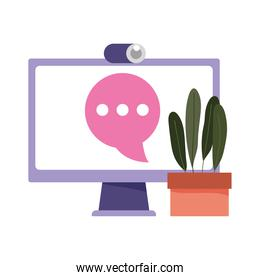 computer talk bubble webcam internet isolated design icon white background