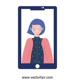 smartphone with woman video content isolated design icon white background
