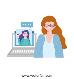 online party, birthday or meeting friends, women celebration event distance with laptop