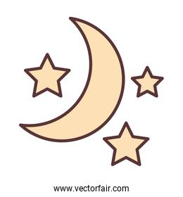 half moon and stars decoration ornament line and fill icon