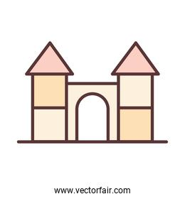 baby castle toy, object newborn template line and fill design icon