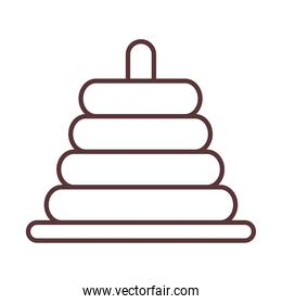 baby pyramid toy, object newborn template line design icon