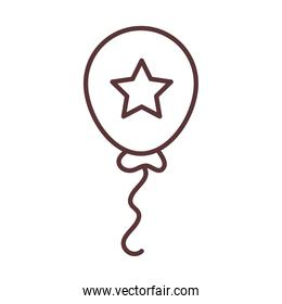balloon with star celebration invitation template line style icon