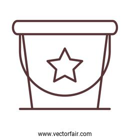 baby bucket with star toy, object newborn template line design icon