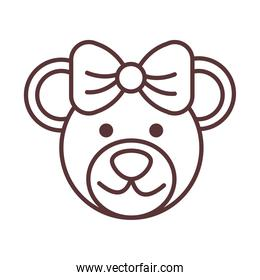 baby female bear face toy, object newborn line design icon