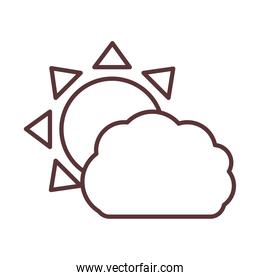 sun and cloud climate summer line style icon