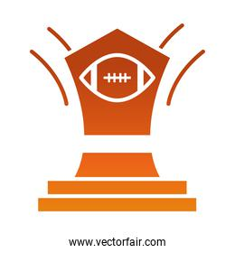 american football trophy prize game sport professional and recreational gradient design icon