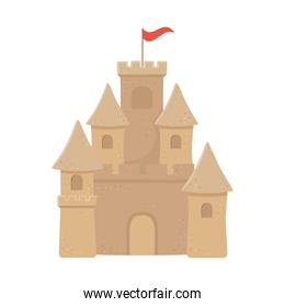 sand castle with flag in top isolated design icon