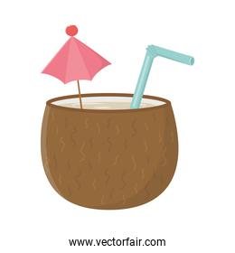 coconut cocktail with umbrella and straw isolated design icon