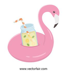 summer travel and vacation flamingo float juice with fruits isolated design icon