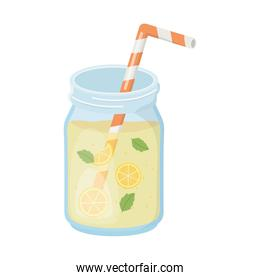 cold refreshment juice with sliced fruits and straw isolated design icon