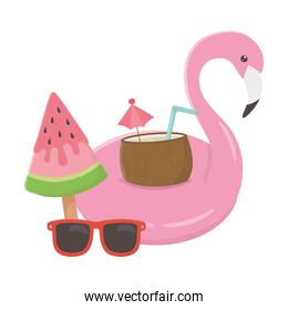 summer travel and vacation float flamingo coconut cocktail ice cream sunglasses watermelon