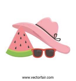 summer travel and vacation hat sunglasses and slice watermelon