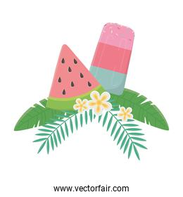 summer travel and vacation ice cream watermelon flowers leaves foliage