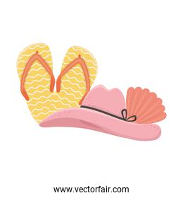 summer travel and vacation beach hat sandals and shell isolated design icon