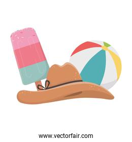 summer travel and vacation beach ball ice cream and hat isolated design icon