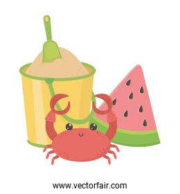summer travel and vacation beach crab watermelon and bucket with sand isolated design icon