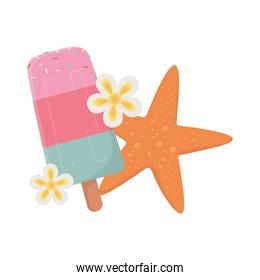 summer travel and vacation beach ice cream in stick starfish and flowers isolated design icon