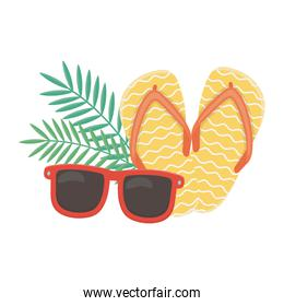 summer travel and vacation beach sunglasses flip flops and leaves isolated design icon