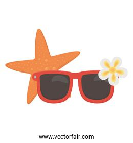 summer travel and vacation beach sunglasses starfish and flower isolated design icon