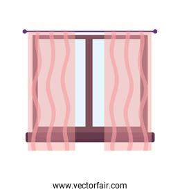 window with curtains decoration interior isolated design icon white background
