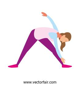 woman doing stretching exercises at home