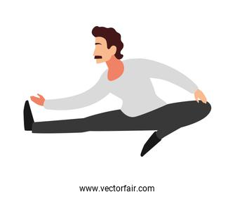 man doing stretching exercises at home