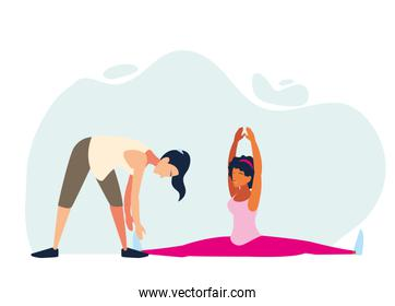 women doing stretching and strength exercise