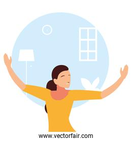 woman doing dance exercises at home