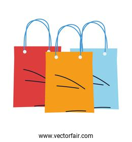 set of bags shopping paper of colors