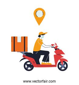 courier with mask and transport vehicle for delivery