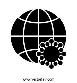 world globe has infected with covid-19 viruses , silhouette style icon