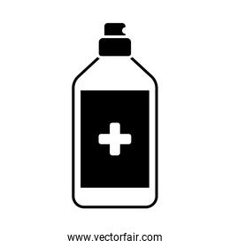 antiseptic in a bottle with a spray , silhouette style icon