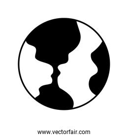 earth globes , silhouette style icon